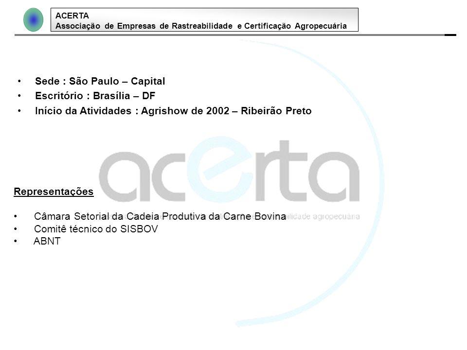 ACERTA Associação de Empresas de Rastreabilidade e Certificação Agropecuária Sede : São Paulo – Capital Escritório : Brasília – DF Início da Atividade