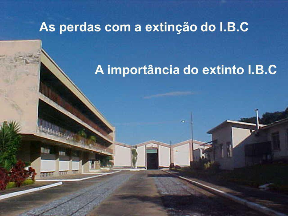 As perdas com a extinção do I.B.C A importância do extinto I.B.C
