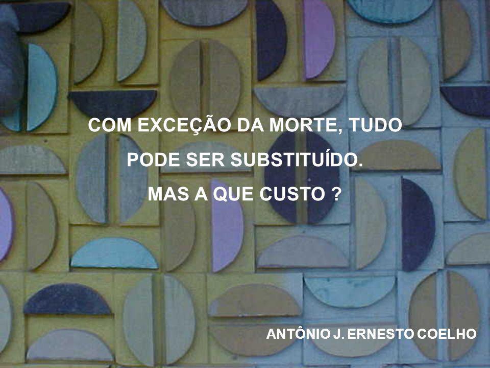 COM EXCEÇÃO DA MORTE, TUDO PODE SER SUBSTITUÍDO. MAS A QUE CUSTO ? ANTÔNIO J. ERNESTO COELHO