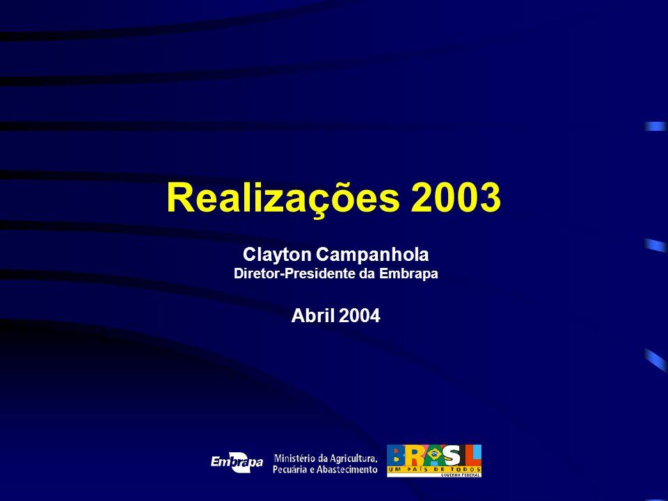 Realizações 2003 Clayton Campanhola Diretor-Presidente da Embrapa Abril 2004