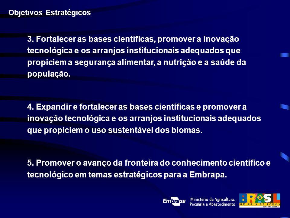 3. Fortalecer as bases científicas, promover a inovação tecnológica e os arranjos institucionais adequados que propiciem a segurança alimentar, a nutr