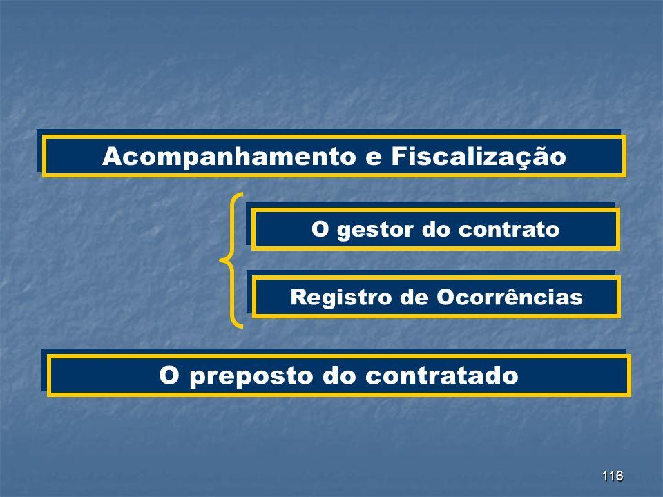 116 Acompanhamento e Fiscalização O gestor do contrato Registro de Ocorrências O preposto do contratado