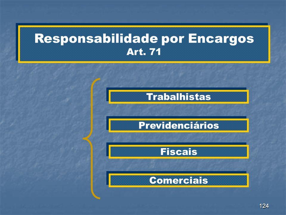 124 Responsabilidade por Encargos Art. 71 Responsabilidade por Encargos Art. 71 Trabalhistas Previdenciários Fiscais Comerciais