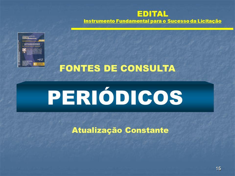 15 PERIÓDICOS Atualização Constante FONTES DE CONSULTA EDITAL Instrumento Fundamental para o Sucesso da Licitação