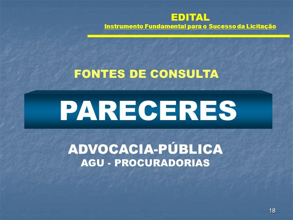 18 PARECERES ADVOCACIA-PÚBLICA AGU - PROCURADORIAS FONTES DE CONSULTA EDITAL Instrumento Fundamental para o Sucesso da Licitação