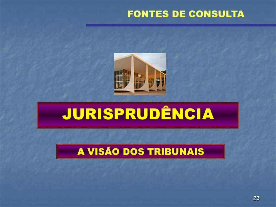 23 JURISPRUDÊNCIA A VISÃO DOS TRIBUNAIS FONTES DE CONSULTA