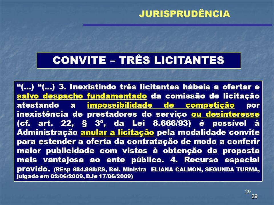 29 (...) (...) 3. Inexistindo três licitantes hábeis a ofertar e salvo despacho fundamentado da comissão de licitação atestando a impossibilidade de c
