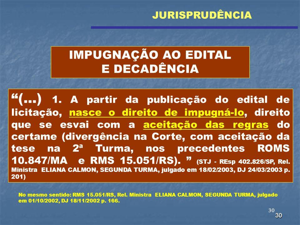 30 (...) 1. A partir da publicação do edital de licitação, nasce o direito de impugná-lo, direito que se esvai com a aceitação das regras do certame (