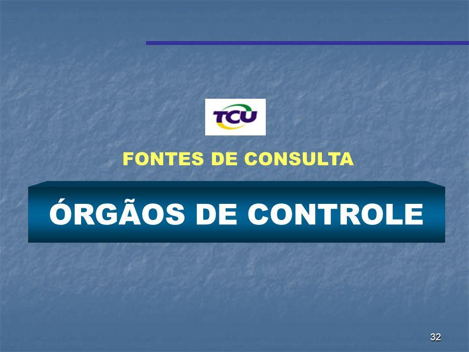 32 ÓRGÃOS DE CONTROLE FONTES DE CONSULTA