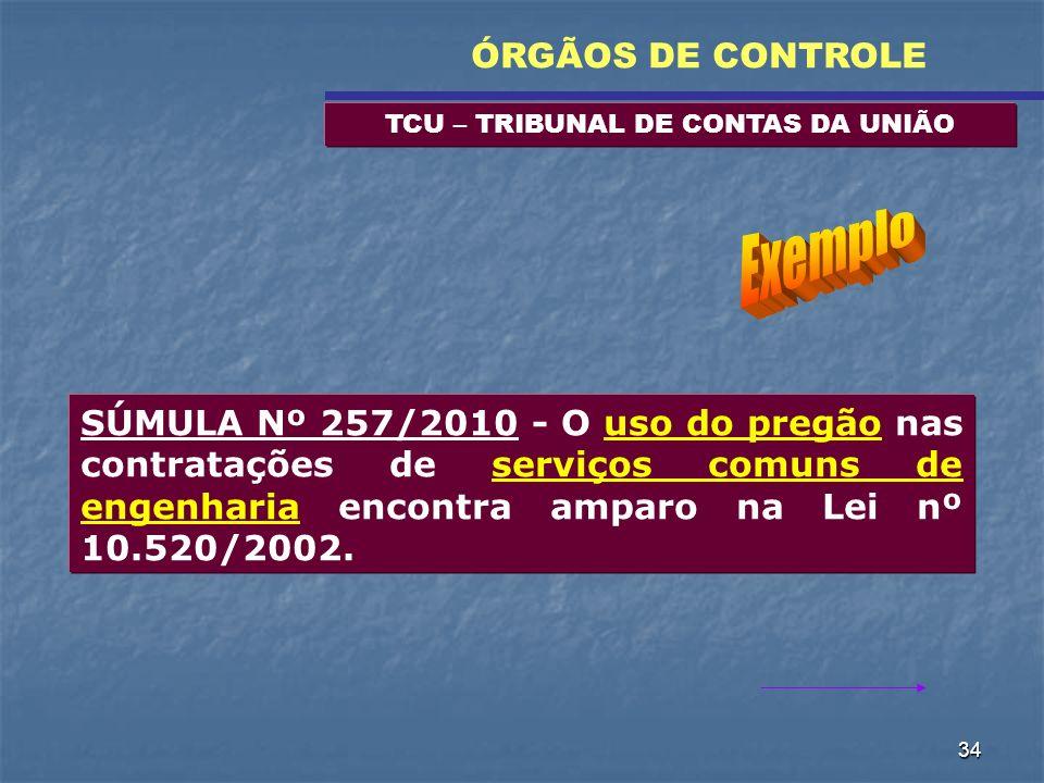 34 TCU – TRIBUNAL DE CONTAS DA UNIÃO ÓRGÃOS DE CONTROLE SÚMULA Nº 257/2010 - O uso do pregão nas contratações de serviços comuns de engenharia encontr