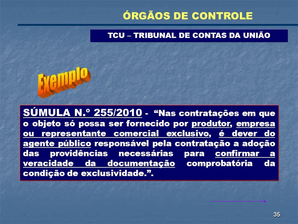 35 TCU – TRIBUNAL DE CONTAS DA UNIÃO ÓRGÃOS DE CONTROLE SÚMULA N.º 255/2010 - Nas contratações em que o objeto só possa ser fornecido por produtor, em