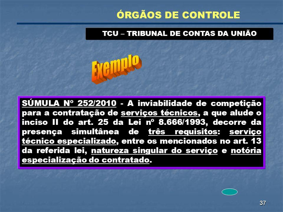 37 TCU – TRIBUNAL DE CONTAS DA UNIÃO ÓRGÃOS DE CONTROLE SÚMULA Nº 252/2010 - A inviabilidade de competição para a contratação de serviços técnicos, a
