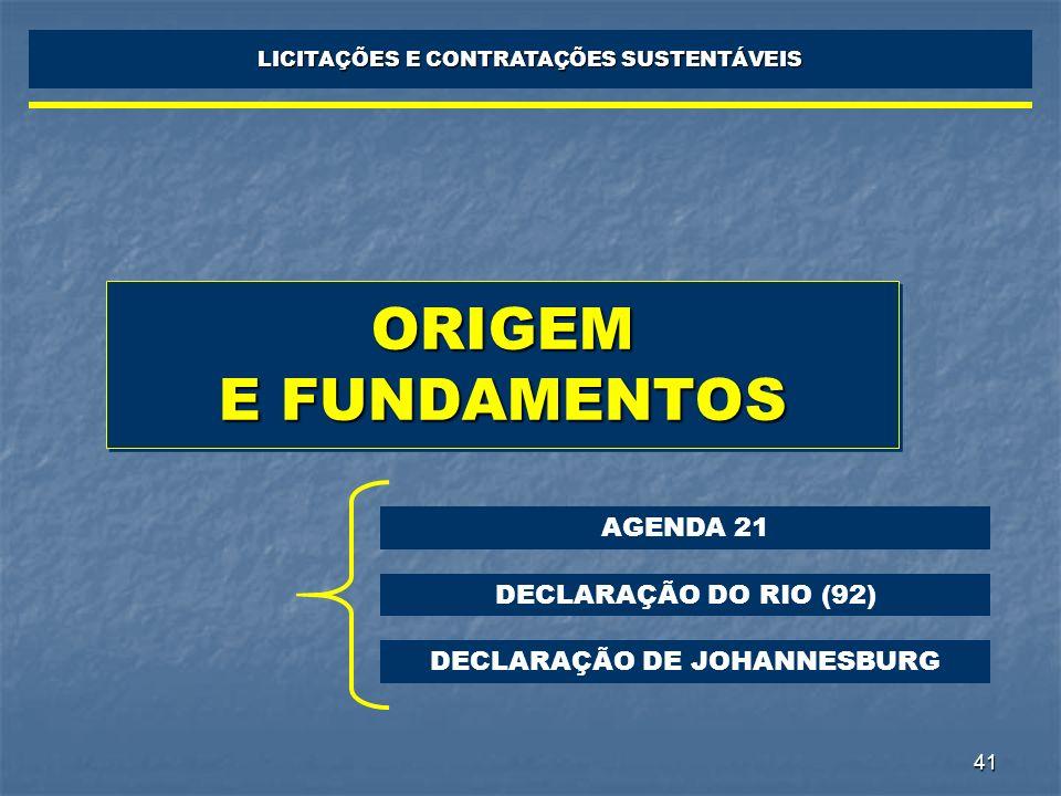 41 ORIGEM E FUNDAMENTOS LICITAÇÕES E CONTRATAÇÕES SUSTENTÁVEIS AGENDA 21 DECLARAÇÃO DO RIO (92) DECLARAÇÃO DE JOHANNESBURG