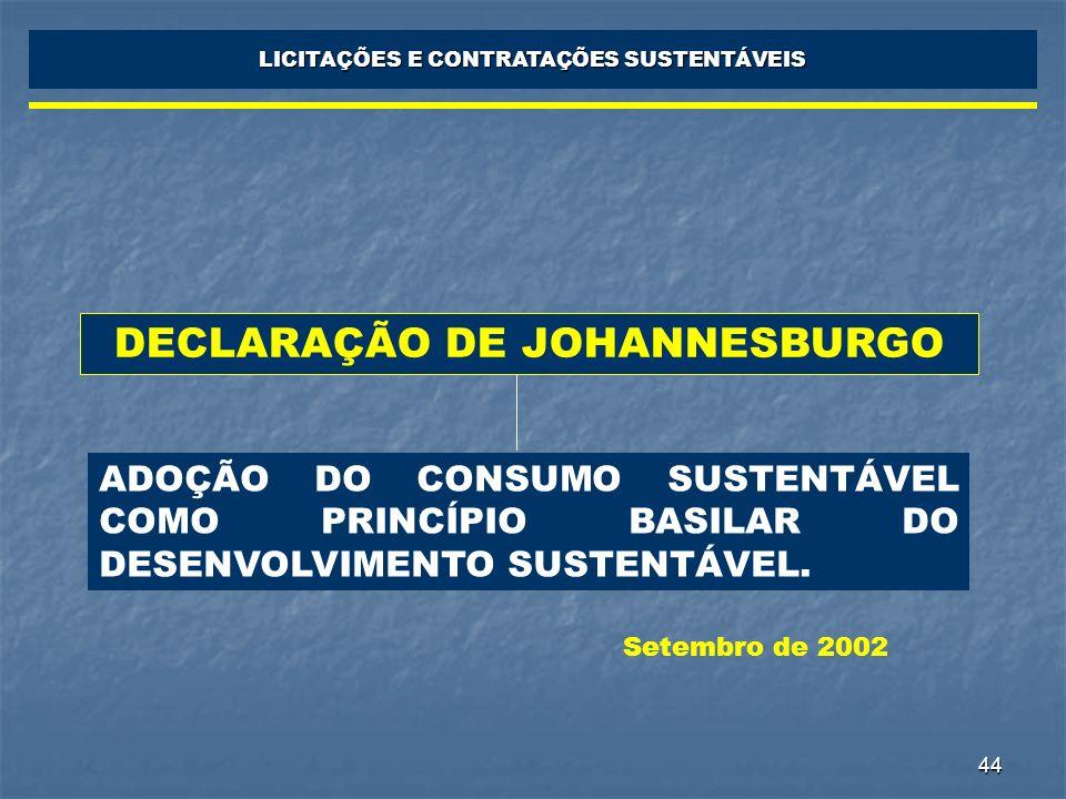 44 LICITAÇÕES E CONTRATAÇÕES SUSTENTÁVEIS DECLARAÇÃO DE JOHANNESBURGO ADOÇÃO DO CONSUMO SUSTENTÁVEL COMO PRINCÍPIO BASILAR DO DESENVOLVIMENTO SUSTENTÁ