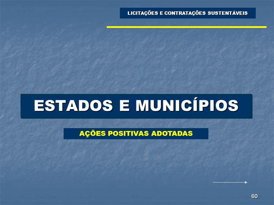 60 ESTADOS E MUNICÍPIOS LICITAÇÕES E CONTRATAÇÕES SUSTENTÁVEIS AÇÕES POSITIVAS ADOTADAS