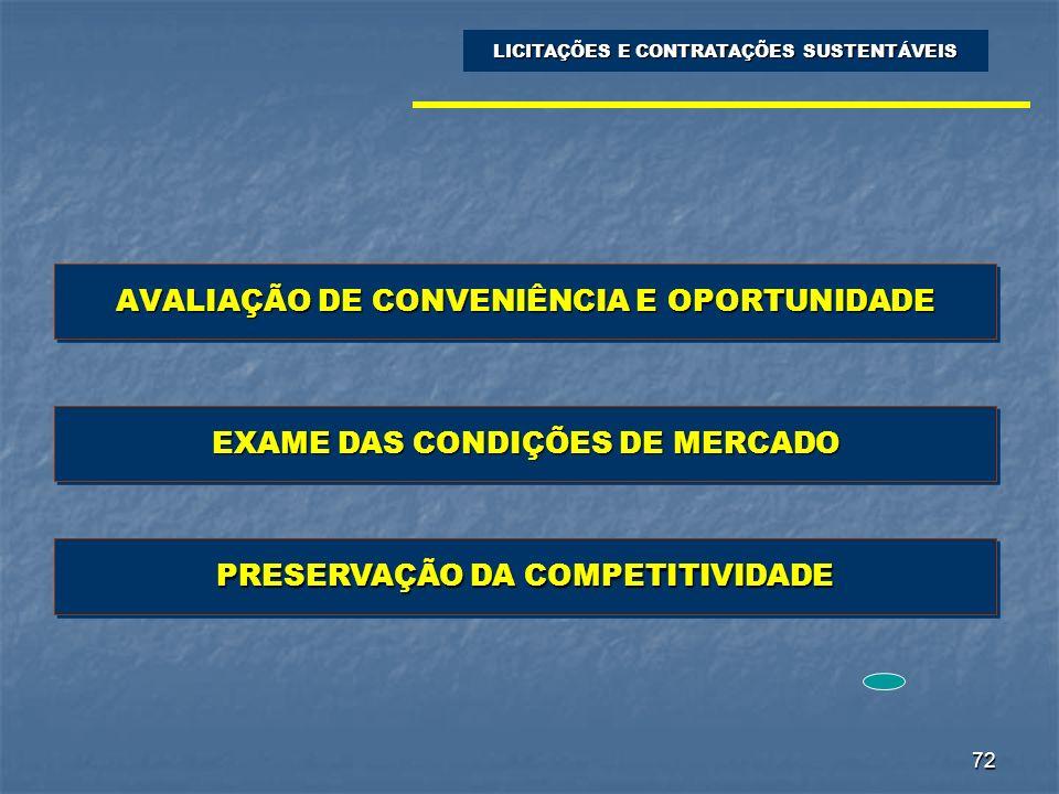 72 AVALIAÇÃO DE CONVENIÊNCIA E OPORTUNIDADE LICITAÇÕES E CONTRATAÇÕES SUSTENTÁVEIS EXAME DAS CONDIÇÕES DE MERCADO PRESERVAÇÃO DA COMPETITIVIDADE