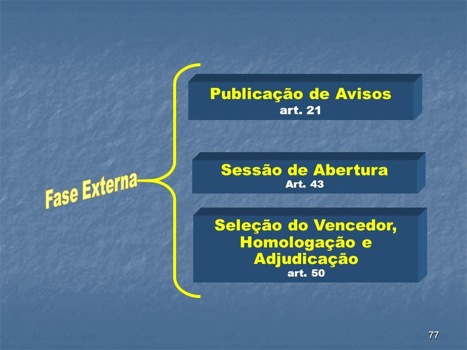 77 Publicação de Avisos art. 21 Seleção do Vencedor, Homologação e Adjudicação art. 50 Sessão de Abertura Art. 43
