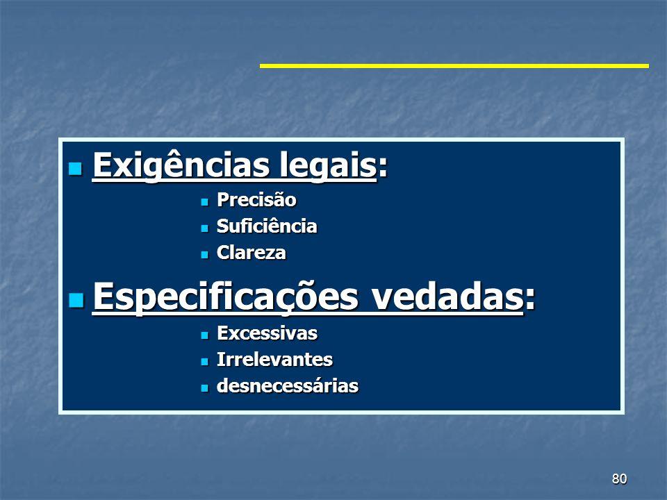 80 Exigências legais: Exigências legais: Precisão Precisão Suficiência Suficiência Clareza Clareza Especificações vedadas: Especificações vedadas: Exc