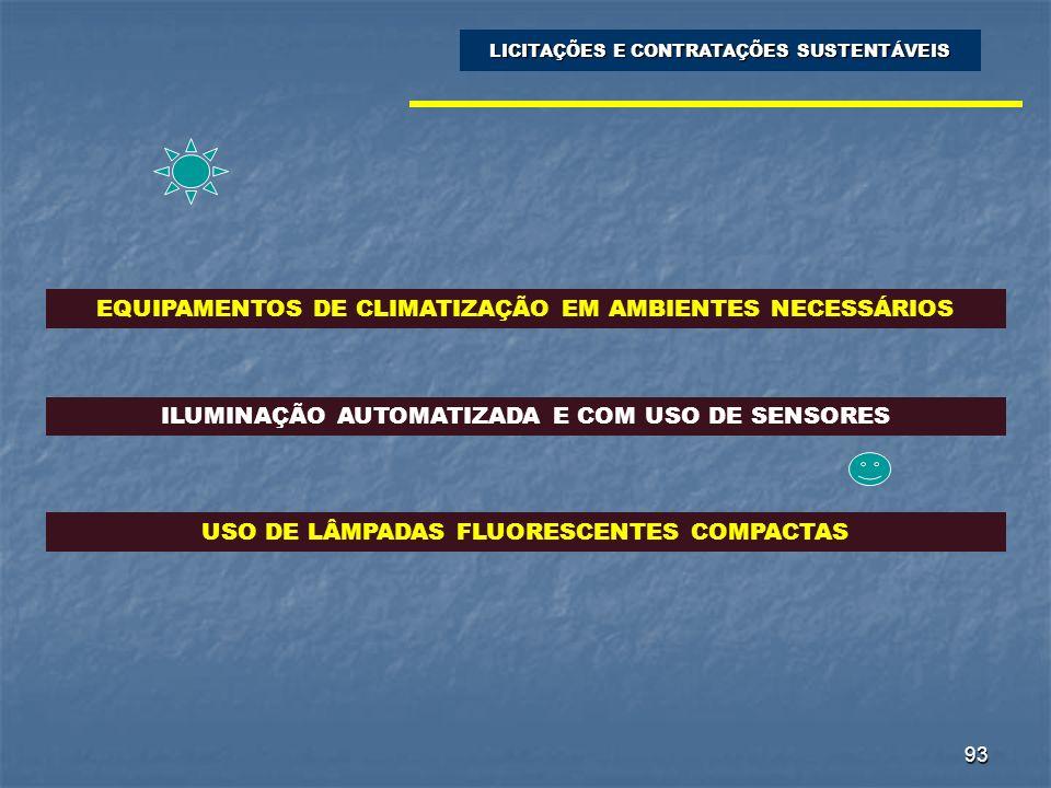 93 EQUIPAMENTOS DE CLIMATIZAÇÃO EM AMBIENTES NECESSÁRIOS LICITAÇÕES E CONTRATAÇÕES SUSTENTÁVEIS ILUMINAÇÃO AUTOMATIZADA E COM USO DE SENSORES USO DE L