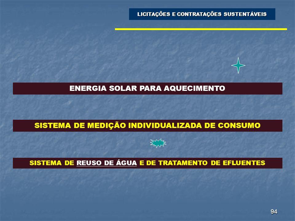 94 LICITAÇÕES E CONTRATAÇÕES SUSTENTÁVEIS ENERGIA SOLAR PARA AQUECIMENTO SISTEMA DE MEDIÇÃO INDIVIDUALIZADA DE CONSUMO SISTEMA DE REUSO DE ÁGUA E DE T
