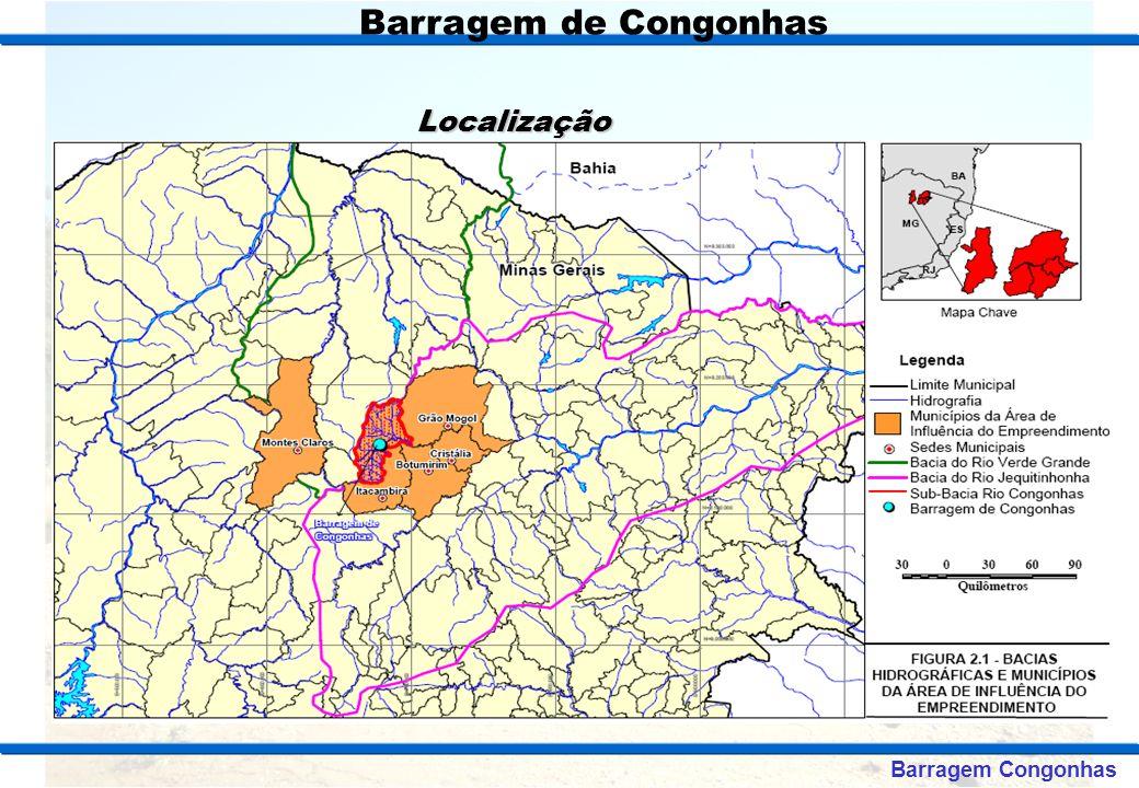 FINALIDADES O Projeto da Barragem Congonhas, que prevê o fechamento do Rio Congonhas, foi desenvolvido com a finalidade de formar um lago acumulando 964000000m³, que objetiva os seguintes aproveitamentos: Abastecimento de Água – 480.000 habitantes Irrigação – 16.750 ha Geração de Energia Elétrica – PCH 10 MW Pólo Turístico – Em torno do reservatório Barragem Congonhas Barragem de Congonhas