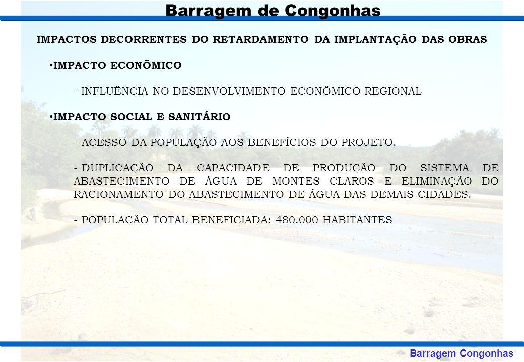 CRONOGRAMA DE IMPLANTAÇÃO ETAPADESCRIÇÃO DA AÇÃOINÍCIOFIM 1 ESTUDOS PARA ATENDIMENTO AOS CONDICIONANTES DA LICENÇA PRÉVIA JAN / 2010ABR / 2010 2OBTENÇÃO DA LICENÇA DE INSTALAÇÃO - LIMAI / 2010JUL / 2010 3EXECUÇÃO DAS OBRAS DA BARRAGEMAGO / 2010AGO / 2013 4SUPERVISÃO DAS OBRASAGO / 2010AGO / 2013 5DESAPROPRIAÇÃO DA BACIAAGO / 2010AGO / 2012 6REASSENTAMENTOAGO / 2010AGO / 2012 7EXECUÇÃO DO SISTEMA ADUTORAGO / 2011AGO / 2013 8 AÇÕES AMBIENTAIS COMPLEMENTARES E OBTENÇÃO DA LICENÇA DE OPERAÇÃO AGO / 2010AGO / 2013 Barragem de Congonhas