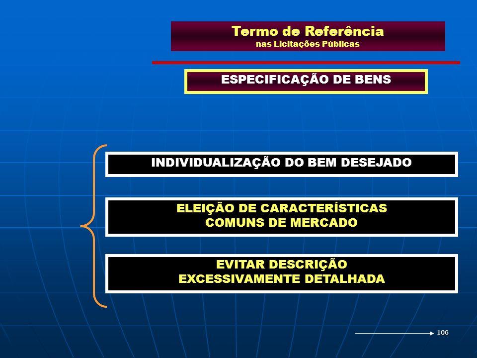 106 Termo de Referência nas Licitações Públicas ESPECIFICAÇÃO DE BENS INDIVIDUALIZAÇÃO DO BEM DESEJADO ELEIÇÃO DE CARACTERÍSTICAS COMUNS DE MERCADO EV