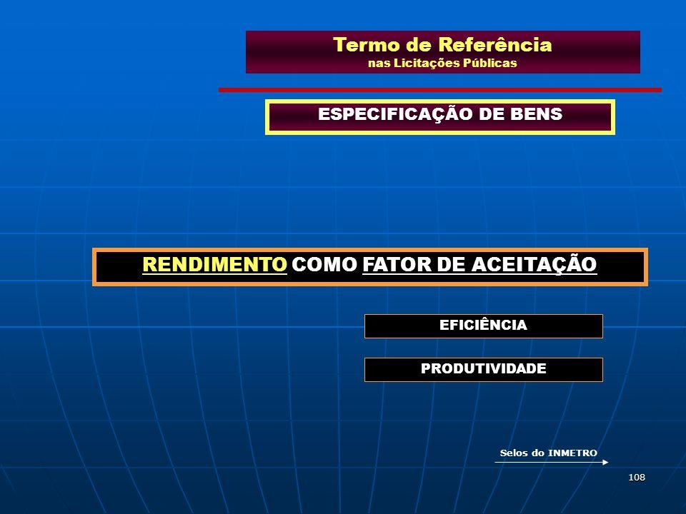 108 Termo de Referência nas Licitações Públicas ESPECIFICAÇÃO DE BENS RENDIMENTO COMO FATOR DE ACEITAÇÃO EFICIÊNCIA PRODUTIVIDADE Selos do INMETRO