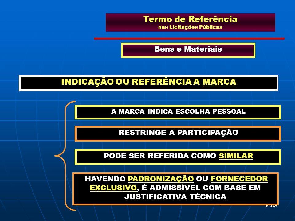 114 Termo de Referência nas Licitações Públicas Bens e Materiais A MARCA INDICA ESCOLHA PESSOAL INDICAÇÃO OU REFERÊNCIA A MARCA RESTRINGE A PARTICIPAÇ