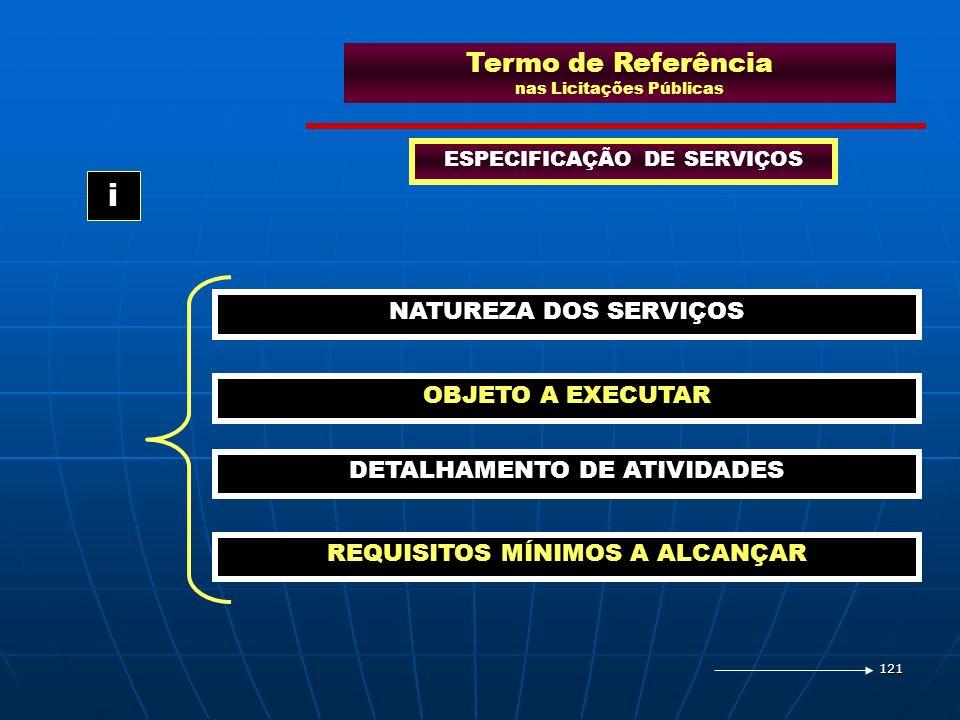 121 Termo de Referência nas Licitações Públicas ESPECIFICAÇÃO DE SERVIÇOS NATUREZA DOS SERVIÇOS OBJETO A EXECUTAR DETALHAMENTO DE ATIVIDADES i REQUISI