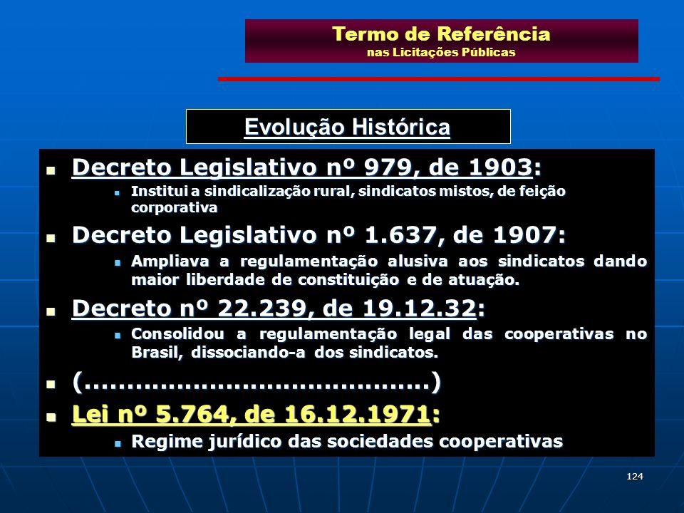124 Evolução Histórica Decreto Legislativo nº 979, de 1903: Decreto Legislativo nº 979, de 1903: Institui a sindicalização rural, sindicatos mistos, d