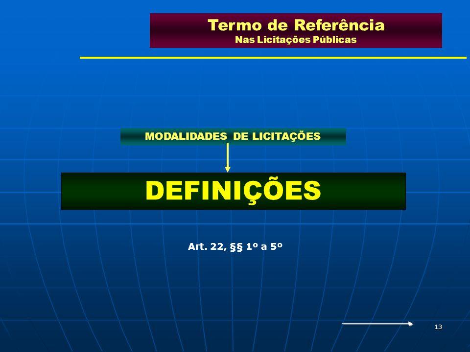 13 DEFINIÇÕES Termo de Referência Nas Licitações Públicas MODALIDADES DE LICITAÇÕES Art. 22, §§ 1º a 5º