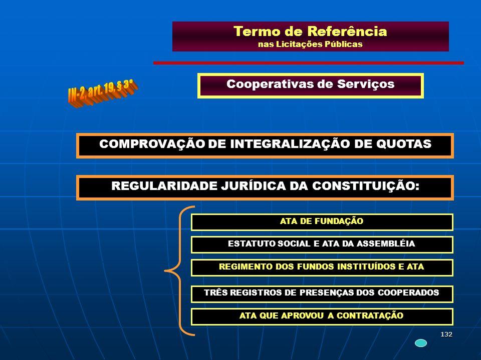 132 Termo de Referência nas Licitações Públicas Cooperativas de Serviços COMPROVAÇÃO DE INTEGRALIZAÇÃO DE QUOTAS REGULARIDADE JURÍDICA DA CONSTITUIÇÃO