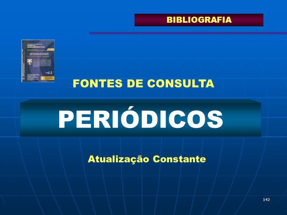 142 PERIÓDICOS Atualização Constante FONTES DE CONSULTA BIBLIOGRAFIA