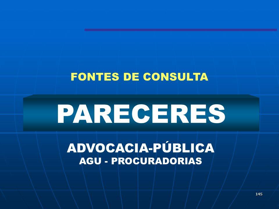 145 PARECERES ADVOCACIA-PÚBLICA AGU - PROCURADORIAS FONTES DE CONSULTA