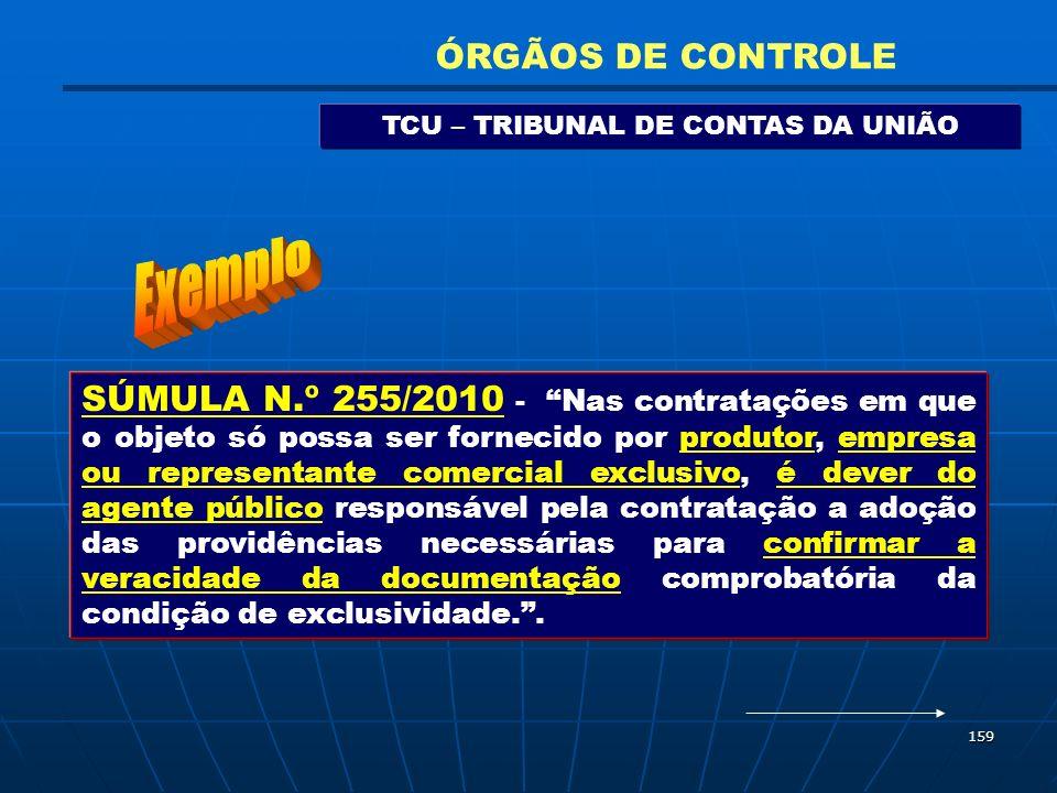 159 TCU – TRIBUNAL DE CONTAS DA UNIÃO ÓRGÃOS DE CONTROLE SÚMULA N.º 255/2010 - Nas contratações em que o objeto só possa ser fornecido por produtor, e