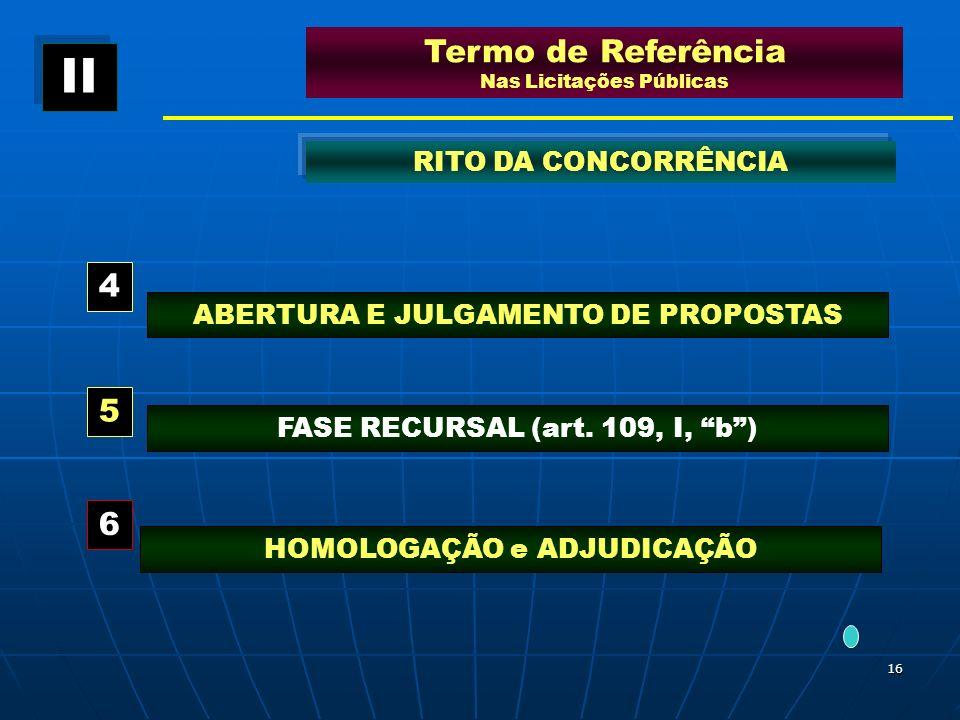 16 ABERTURA E JULGAMENTO DE PROPOSTAS Termo de Referência Nas Licitações Públicas RITO DA CONCORRÊNCIA 4 HOMOLOGAÇÃO e ADJUDICAÇÃO 5 6 FASE RECURSAL (