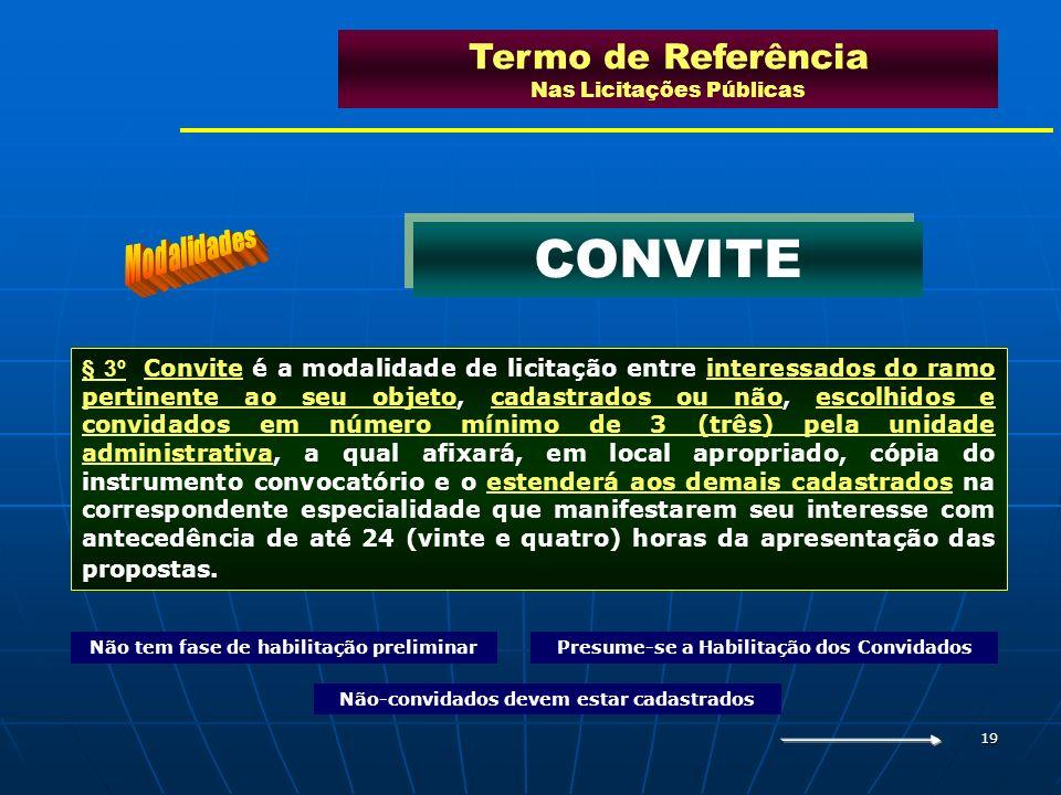 19 § 3º Convite é a modalidade de licitação entre interessados do ramo pertinente ao seu objeto, cadastrados ou não, escolhidos e convidados em número