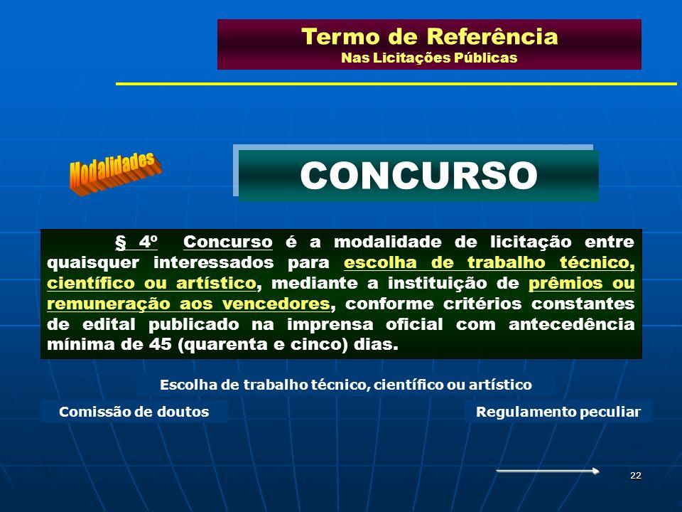 22 § 4º Concurso é a modalidade de licitação entre quaisquer interessados para escolha de trabalho técnico, científico ou artístico, mediante a instit