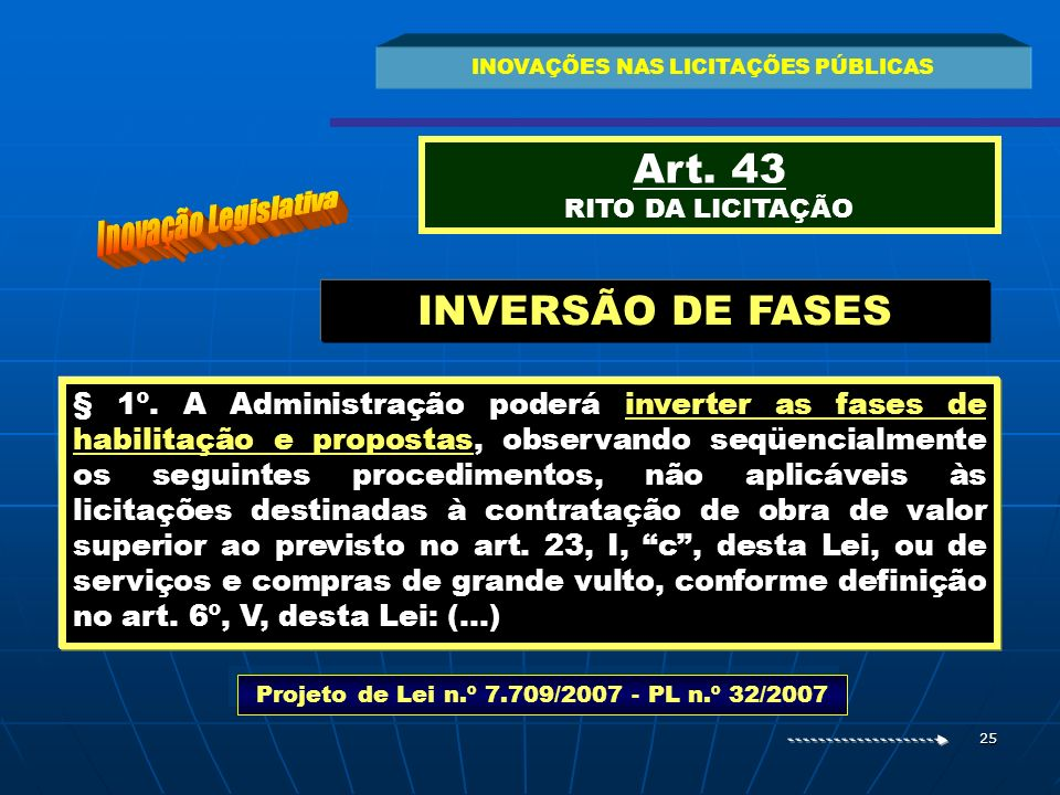 25 INOVAÇÕES NAS LICITAÇÕES PÚBLICAS Art. 43 RITO DA LICITAÇÃO § 1º. A Administração poderá inverter as fases de habilitação e propostas, observando s