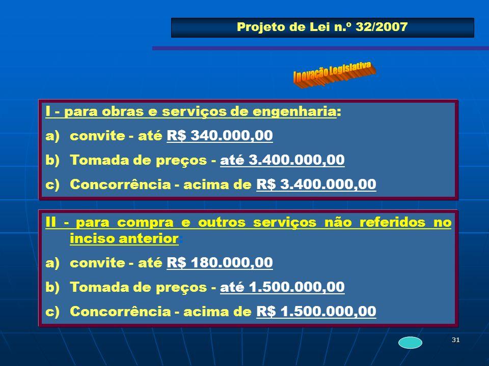 31 Projeto de Lei n.º 32/2007 I - para obras e serviços de engenharia: a)convite - até R$ 340.000,00 b)Tomada de preços - até 3.400.000,00 c)Concorrên