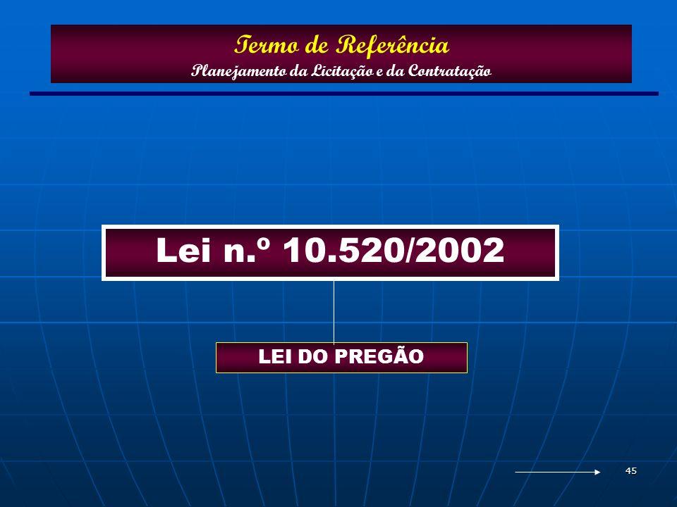 45 Lei n.º 10.520/2002 Termo de Referência Planejamento da Licitação e da Contratação LEI DO PREGÃO