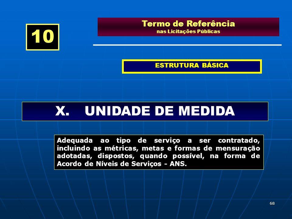 68 Termo de Referência nas Licitações Públicas ESTRUTURA BÁSICA X.UNIDADE DE MEDIDA 10 Adequada ao tipo de serviço a ser contratado, incluindo as métr