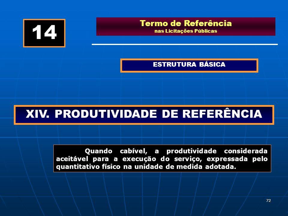 72 Termo de Referência nas Licitações Públicas ESTRUTURA BÁSICA XIV.PRODUTIVIDADE DE REFERÊNCIA 14 Quando cabível, a produtividade considerada aceitáv