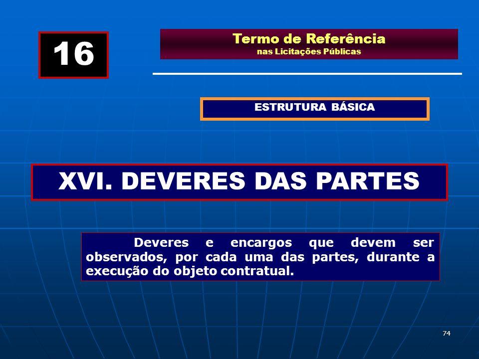 74 Termo de Referência nas Licitações Públicas ESTRUTURA BÁSICA XVI. DEVERES DAS PARTES 16 Deveres e encargos que devem ser observados, por cada uma d