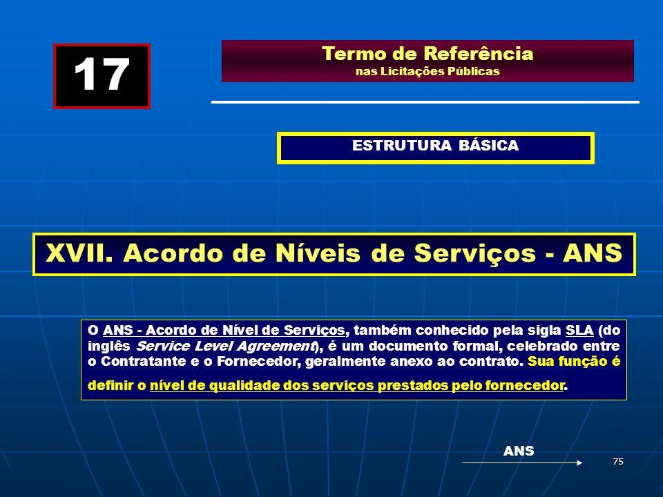 75 Termo de Referência nas Licitações Públicas ESTRUTURA BÁSICA XVII. Acordo de Níveis de Serviços - ANS 17 O ANS - Acordo de Nível de Serviços, també