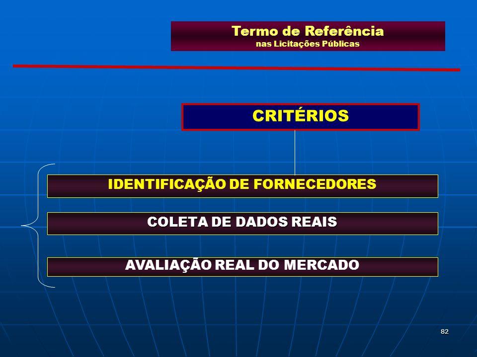 82 COLETA DE DADOS REAIS AVALIAÇÃO REAL DO MERCADO IDENTIFICAÇÃO DE FORNECEDORES Termo de Referência nas Licitações Públicas CRITÉRIOS