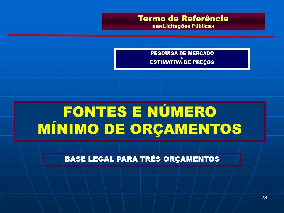 84 Termo de Referência nas Licitações Públicas PESQUISA DE MERCADO E ESTIMATIVA DE PREÇOS FONTES E NÚMERO MÍNIMO DE ORÇAMENTOS BASE LEGAL PARA TRÊS OR