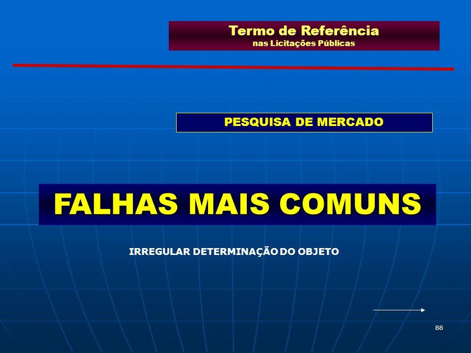 88 FALHAS MAIS COMUNS Termo de Referência nas Licitações Públicas PESQUISA DE MERCADO IRREGULAR DETERMINAÇÃO DO OBJETO