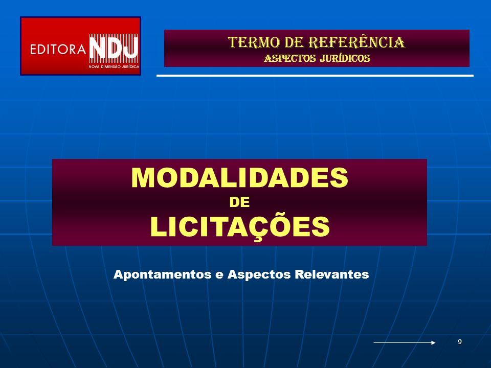 9 Termo de Referência ASPECTOS JURÍDICOS MODALIDADES DE LICITAÇÕES Apontamentos e Aspectos Relevantes